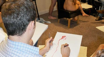 Nude Life Drawing with a Female Model in Manchester